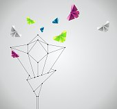 Origami abstract background. Paper butterfly and flower.