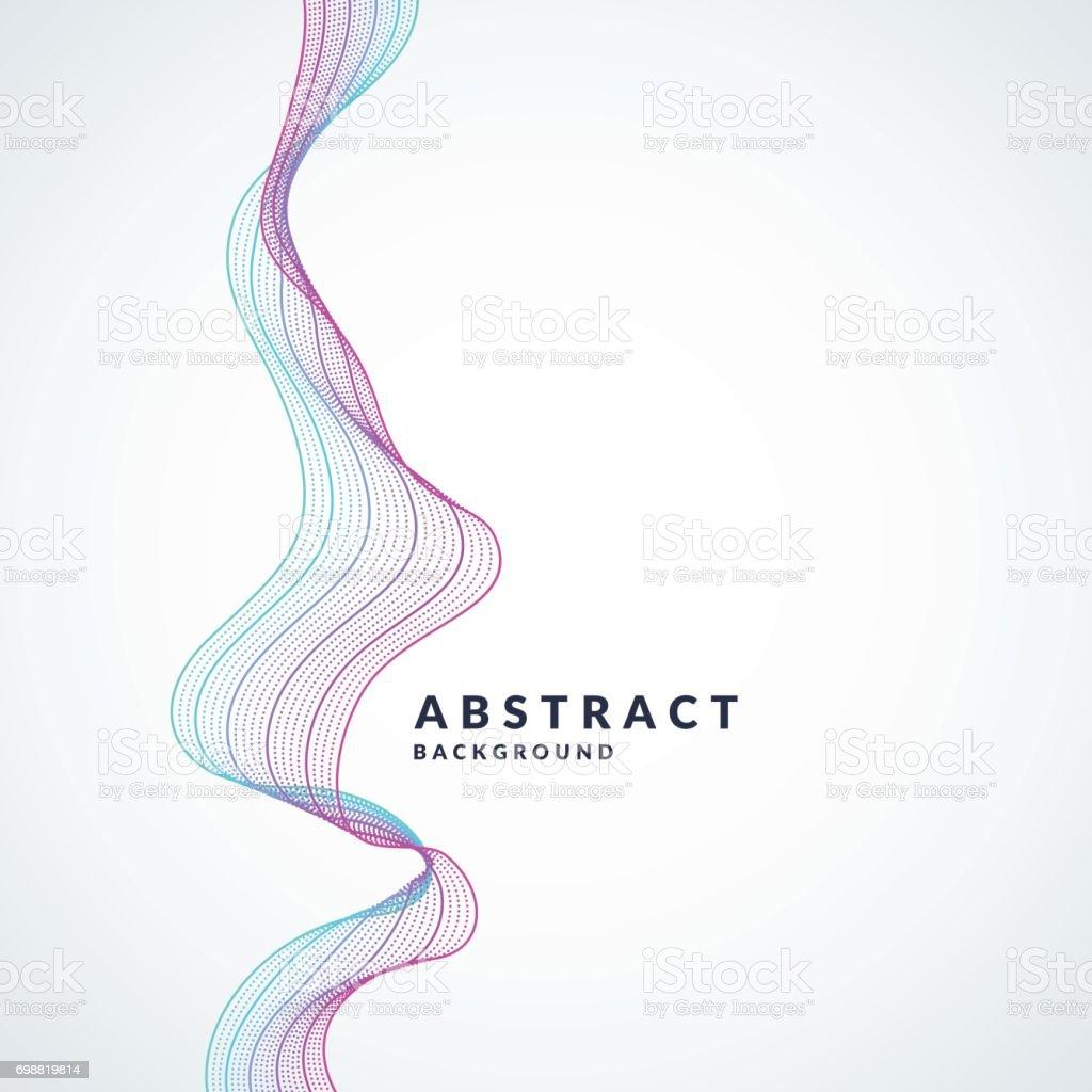 抽象的な背景色のダイナミックな波をベクトル線と粒子ミニマルなスタイル