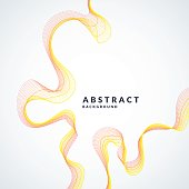 Vector abstract background with a colored dynamic waves, line and particles. Illustration in minimalistic style