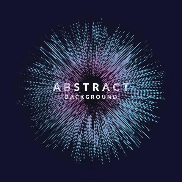 vektor-abstrakten hintergrund mit einem farbigen dynamische wellen linie und partikel. abbildung im minimalistischen stil - kunstaktivitäten stock-grafiken, -clipart, -cartoons und -symbole