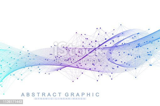 Vector abstract background with a colored dynamic waves, line and particles. Wave flow. Digital frequency track equalizer