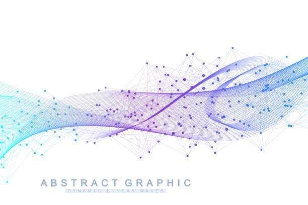 Vektor-abstrakten Hintergrund mit einem farbigen dynamische Wellen Linie und Partikel. Wave-Fluss. Digitale Frequenz Track Equalizer. – Vektorgrafik