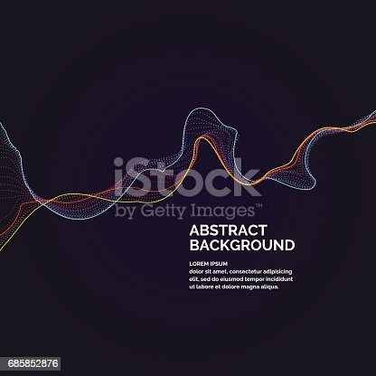 Vector abstract background with a colored dynamic waves, line and particles. Illustration suitable for motion design