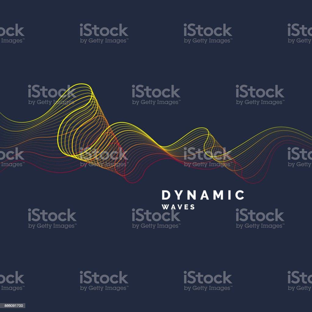 Vector abstrait avec une couleur dynamique des vagues, ligne et particules vector abstrait avec une couleur dynamique des vagues ligne et particules vecteurs libres de droits et plus d'images vectorielles de abstrait libre de droits