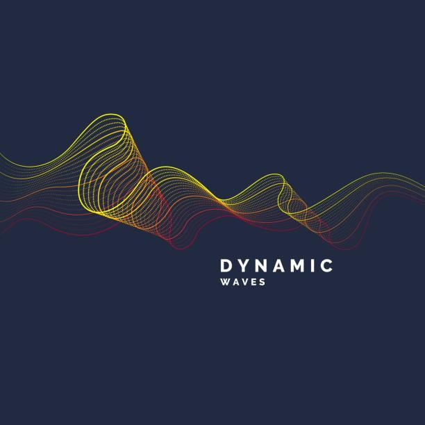 vektor-abstrakten hintergrund mit einem farbigen dynamische wellen linie und partikel - kunstaktivitäten stock-grafiken, -clipart, -cartoons und -symbole