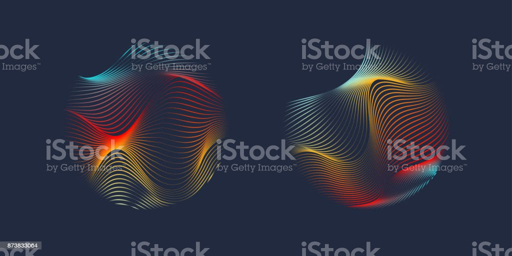 Vector abstract background with a colored dynamic waves, line and particles vector art illustration