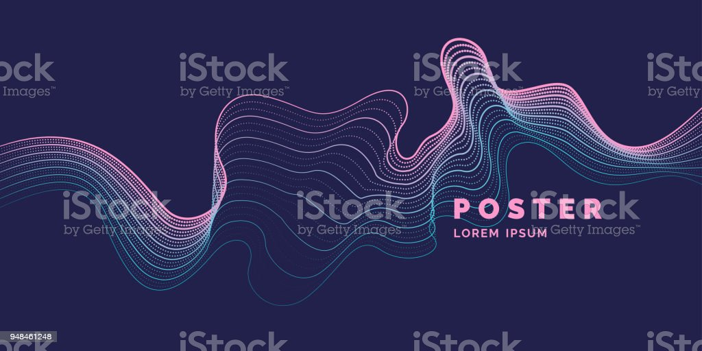 Vector de fondo abstracto con un color dinámico ondas, partículas y línea ilustración de vector de fondo abstracto con un color dinámico ondas partículas y línea y más vectores libres de derechos de abstracto libre de derechos