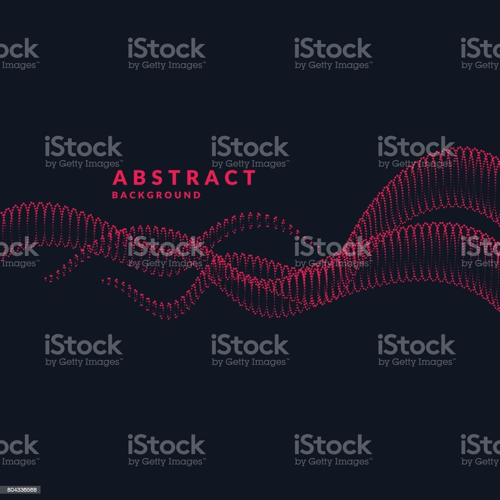 Vector abstract background with a colored dynamic waves, tubes and particles. Illustration vector art illustration