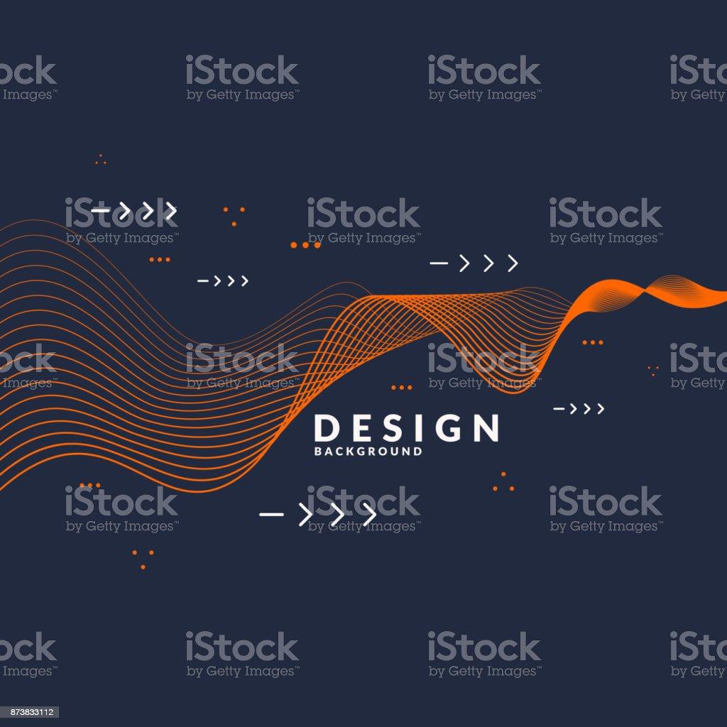 Fondo abstracto vector con ondas dinámicas - ilustración de arte vectorial