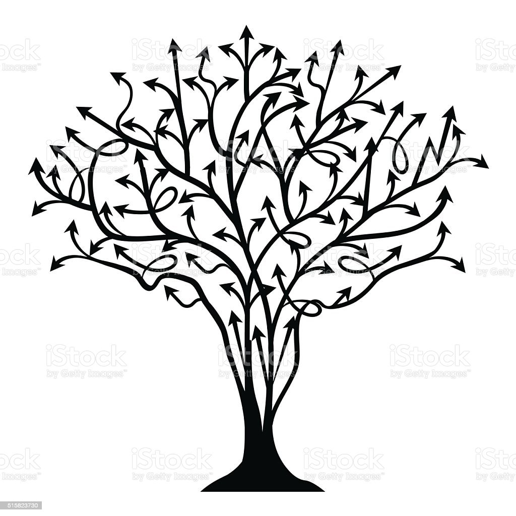 vector abstract background with tree made of arrows stock vector