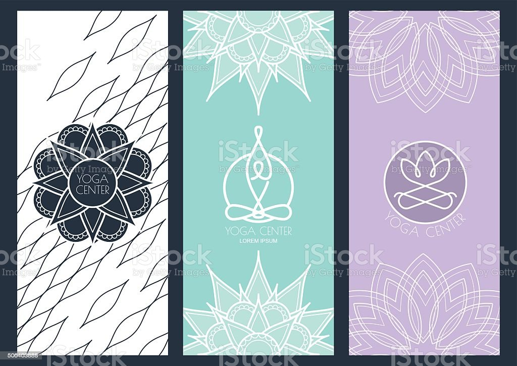 Vector abstract backgrounds, flyers, banners template for for yoga studio vector art illustration