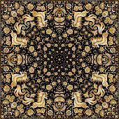 Vector abstract bandana gold unicorn print on a black background. Floral pattern from golden hand drawn rose flowers, fantasy leaves and fairy tale animal, ornate cute horse. Scarf, shawl, carpet