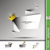 Vector abstract banner with golden crown and stones