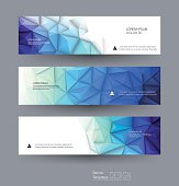 Vector abstract banners set with polygonal, Geometric, Triangle pattern shape