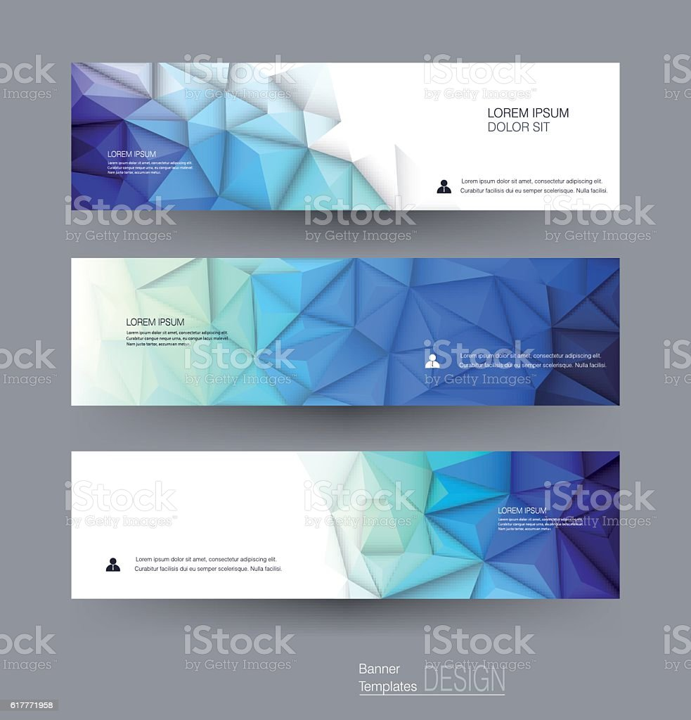 Vector abstract banners set with polygonal, Geometric, Triangle pattern shape vector art illustration
