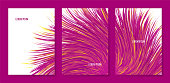Vector abstract banners with colorful furry bunch, triptych with imitation synthetic vortex fur.