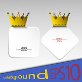 Vector abstract banners with gold crowns and stones