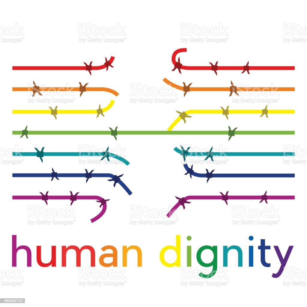 Vector abstract barbed wire, human dignity concept vector art illustration