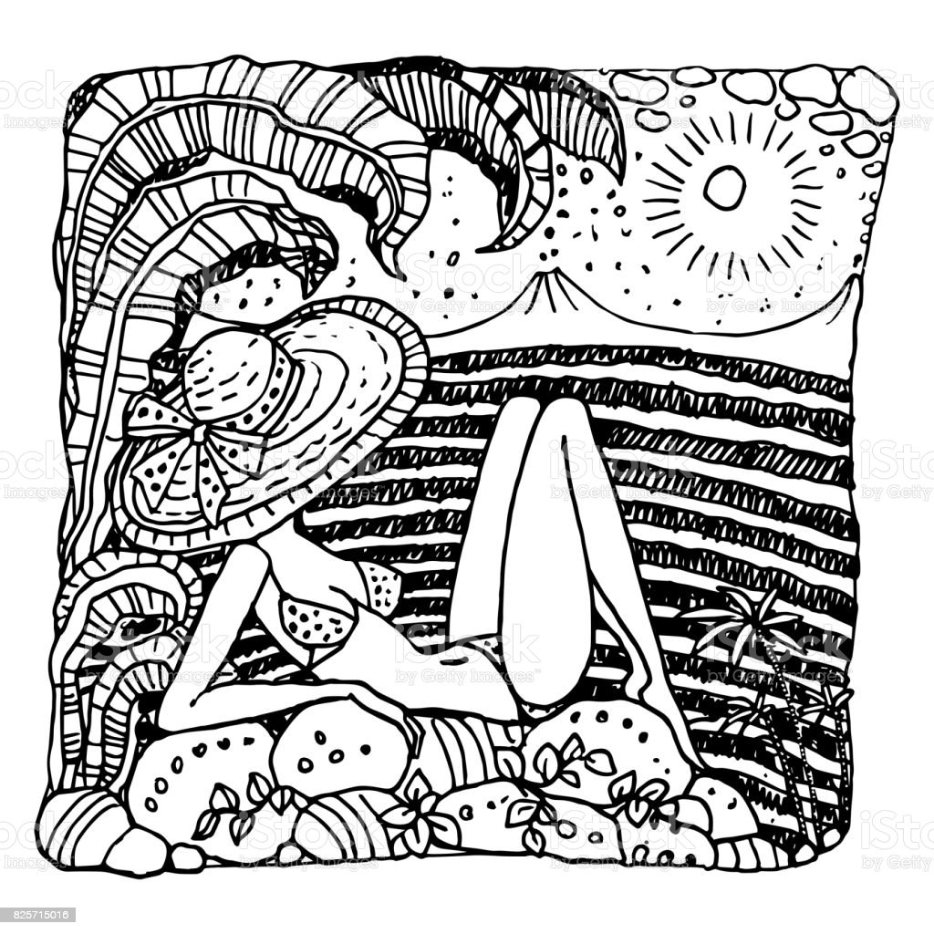 Vector abstract black and white doodle sketch. Hand drawn fantasy Hawaiian landscape with young sunbathing woman in a bikini swimsuit and straw hat, palm, ocean waves, fairy leaves with hibiscus flower, volcanoes on the horizon . Pop art style vintage car vector art illustration