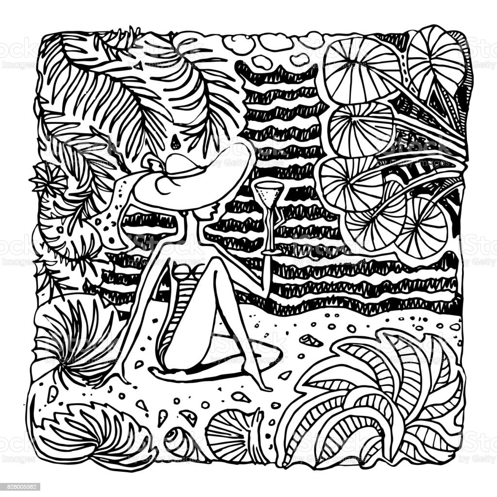 Vector Abstract Black And White Doodle Sketch Hand Drawn Fantasy