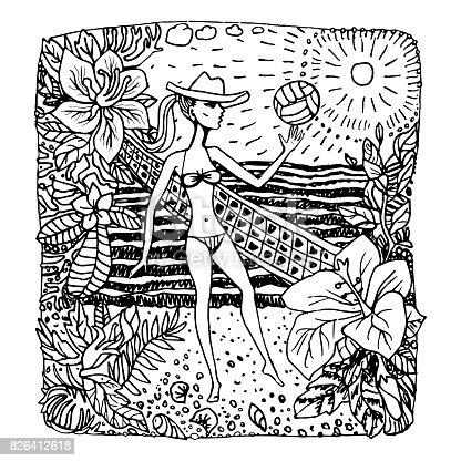 istock Vector abstracto blanco y negro doodle sketch. Fantasía de ...