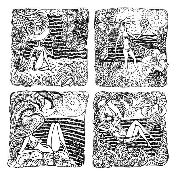 手描き落書きスケッチの抽象的な黒と白のベクトルを設定します。ハワイの風景、若い女性、バレーボール、パーム、海の波、妖精の葉、ハイビスカスの花をファンタジーします。pop アート t シャツ印刷本ページを着色 - 花のボーダー点のイラスト素材/クリップアート素材/マンガ素材/アイコン素材