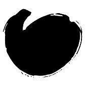 Vector Abstract black brush circle. Grunge brushstroke freehand ink decor. Black and white engraved ink art. Isolated ink brush stroke illustration element.