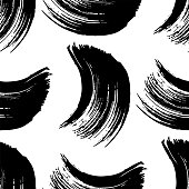 Vector Abstract black brush curl. Grunge brushstroke freehand ink decor. Black and white engraved ink art. Seamless background pattern. Fabric wallpaper print texture.
