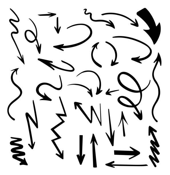 stockillustraties, clipart, cartoons en iconen met vector abstracte zwarte hand getrokken pijlen instellen. illustratie van grunge schets handgemaakte vector pijl set.arrow grunge vector. - potloodtekening
