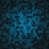 Vector abstract blue background with hexagon shapes different opacity.