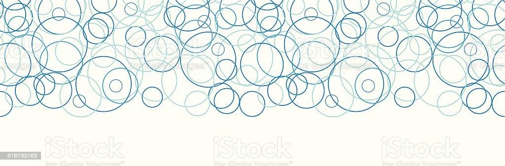 Vector abstract blue circles horizontal border seamless pattern background vector art illustration
