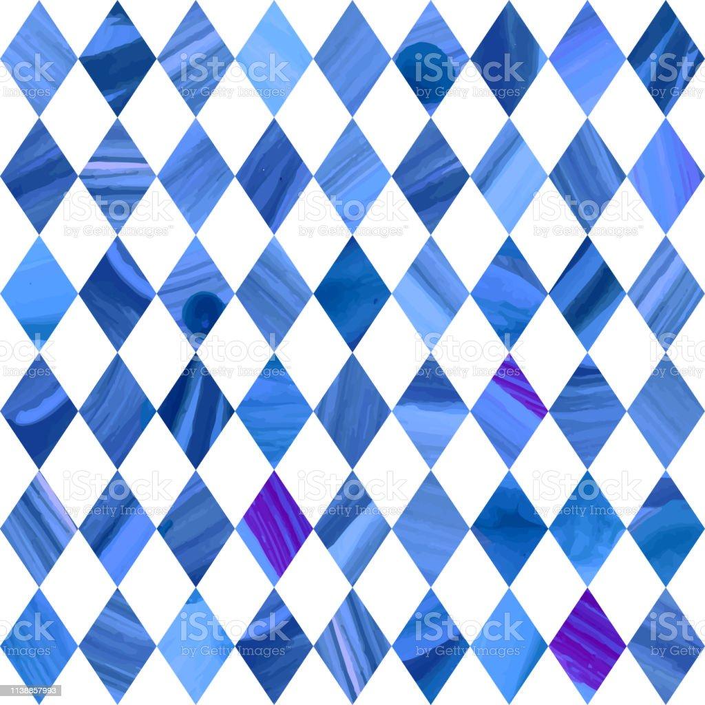 幾何学的な順序のベクトル抽象青の織り目加工の継ぎ目が無いパターン水彩画は白の背景に青を塗りましたテラッツォのためのモロッコの装飾床タイル 壁紙 ラッピングペーパー でこぼこのベクターアート素材や画像を多数ご用意 Istock