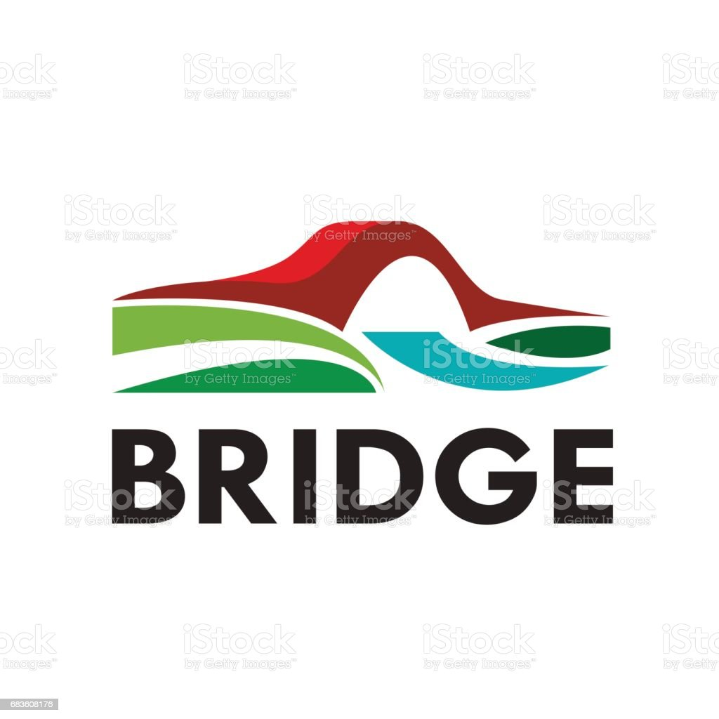 Vector abstract bridge, connection concept vector art illustration
