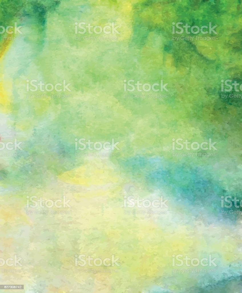 vector abstract bright green, blue, yellow watercolor background for your design greeting cards and invitations vector art illustration