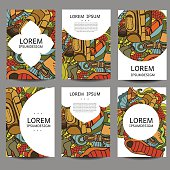 Vector abstract brochures Recreation. Tourism and camping in doodle style