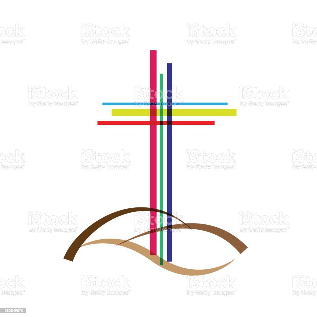 Vector abstract Christ crucifix; three crosses vector art illustration