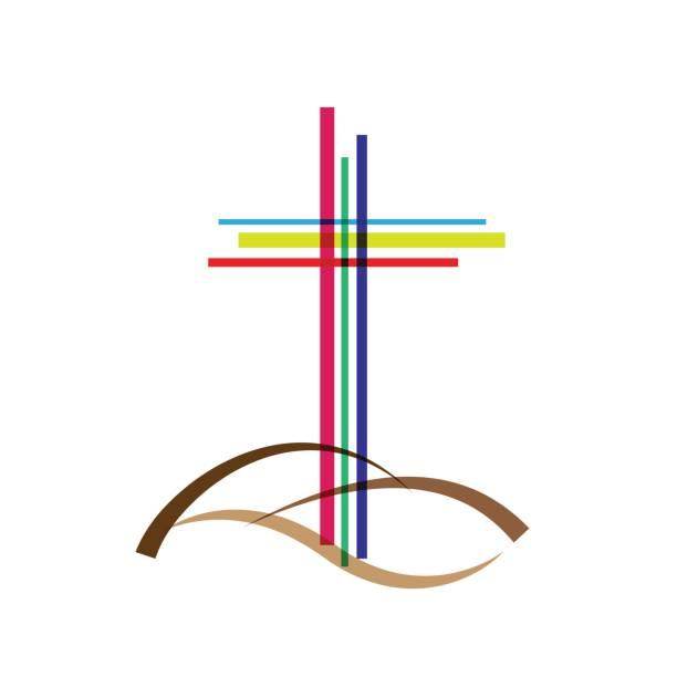 Vector abstract Christ crucifix; three crosses - ilustração de arte vetorial
