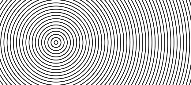Vector abstract circles halftone black and white background. Line pattern design. Monochrome graphic. Vector illustration.