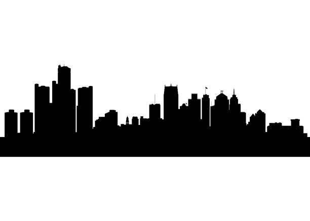 vector abstract city, detroit, michigan - architecture silhouettes stock illustrations