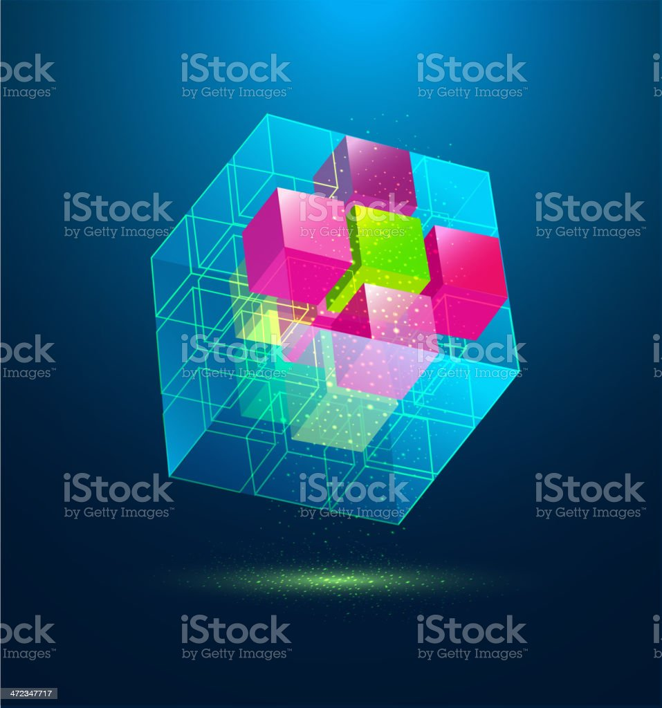 vector abstract colorful cube royalty-free stock vector art