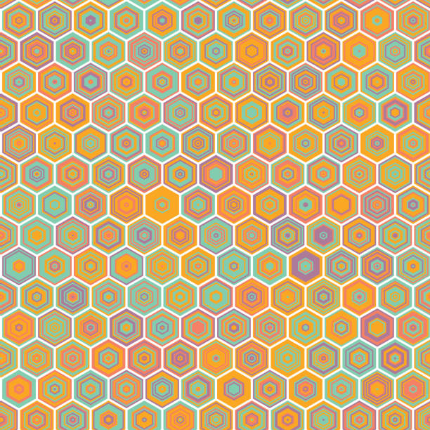 Vector abstract colorful Honeycomb Seamless Pattern Abstract colorful Honeycomb Seamless Pattern, Vector illustration geometric background bee borders stock illustrations
