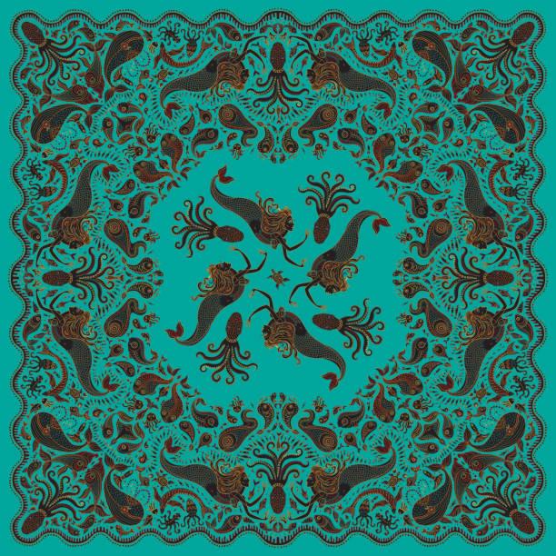 illustrations, cliparts, dessins animés et icônes de sirène colorée abstraite vector imprimer sur fond vert turquoise. motif paisley, poissons dessinés à la main, animaux fantastiques de la mer, poulpe mignon orné. conception de bandana, écharpe, ornement de mouchoir, tee shirt impression - tatouages sirènes