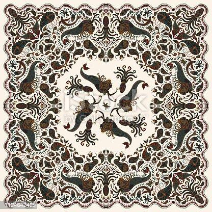 Vector abstract colorful mermaid print on a white background. Paisley pattern, hand drawn fish, fantasy sea animals, ornate cute octopus. Bandana design, scarf, kerchief ornament, tee shirt print