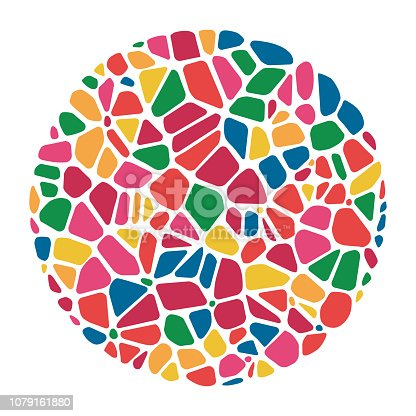 vector abstract colorful mosaic round pattern. pebble stone mosaic circle background