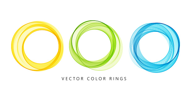 Vector abstract round colorful lines isolated on white background. Transparent rings design element for modern concept.