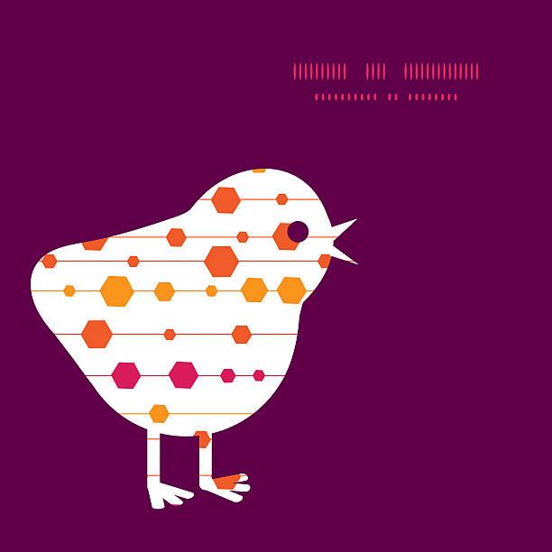 illustrations, cliparts, dessins animés et icônes de vecteur abstrait coloré de rayures et silhouette de formes de poulet pâques - infographie processus