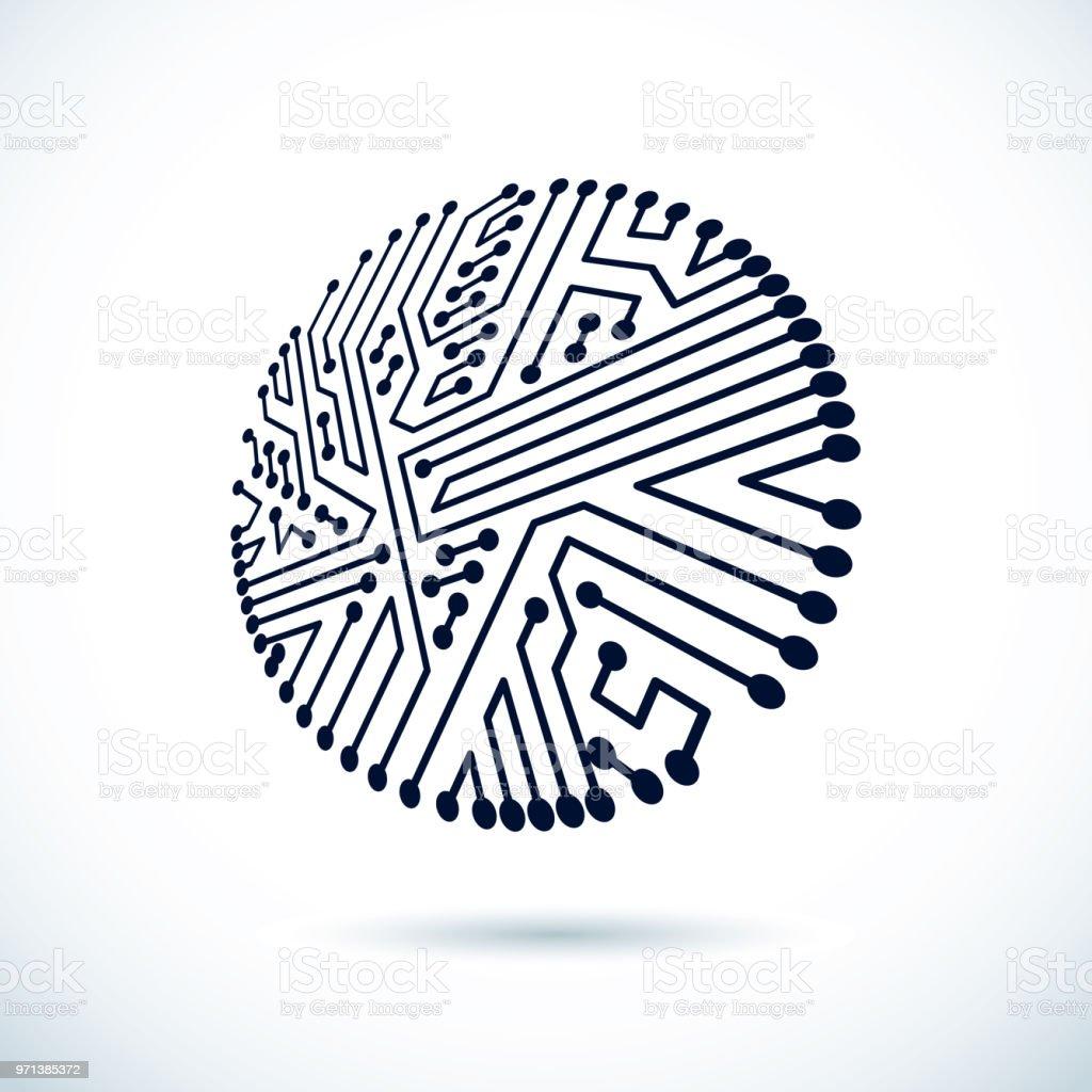 vector abstract computer circuit board illustration circular