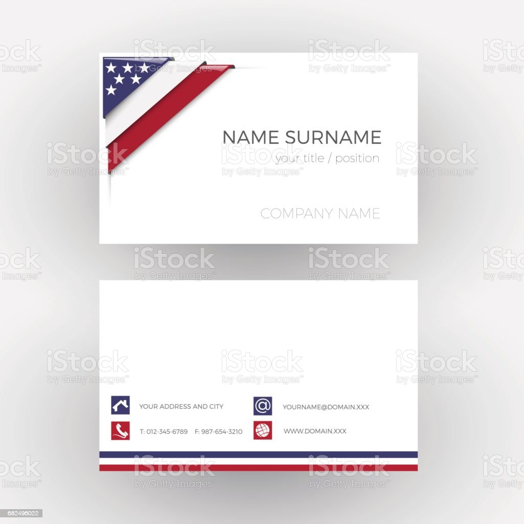 Vector Abstract Corner with American flag. Business card ilustración de vector abstract corner with american flag business card y más banco de imágenes de abstracto libre de derechos