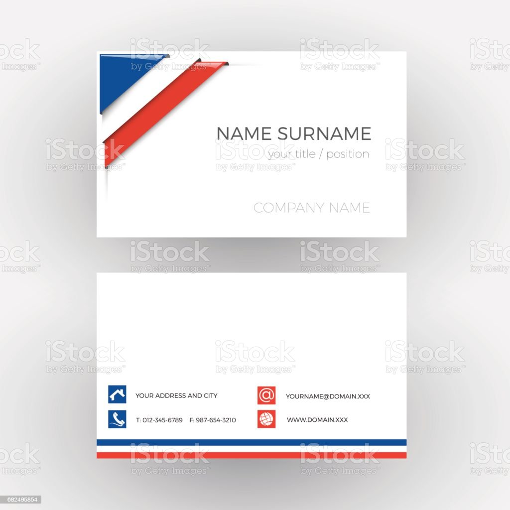 Vector Abstract Corner With French Flag Business Card Stock Vector