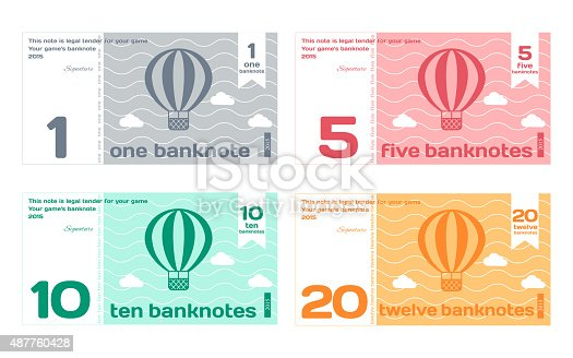 istock Vector Abstract Cute Color Banknote Templates Set 487760428